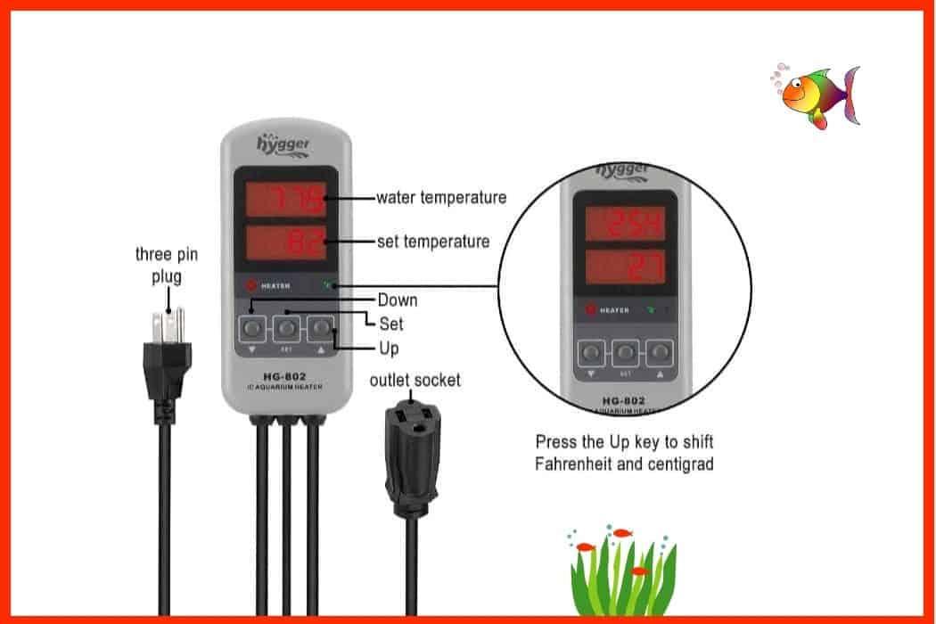 Hygger Titanium Aquarium Heater Temperature Control Illustration