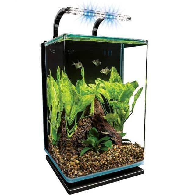 MarineLand Contour Glass fish tank with Rail Light